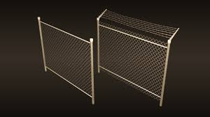 3d Model Game Ready A Chain Link Fences Set Cgtrader