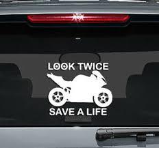 Look Twice Save A Life Motorcycle Decal Vinyl Sticker Window Bumper Car Truck Ebay