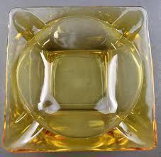 vintage amber glass ashtray tobacciana