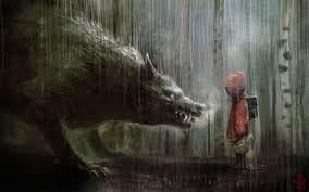 rain, wolf, Little Red Riding Hood, artwork :: Wallpapers