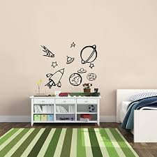 Amazon Com 10 Pack Outer Space Rocket Ship Vinyl Wall Art Stickers 18 X 20 Boys Room Ufo Spaceship Vinyl Wall Decals Kids Universe Peel Off Stickers Decor