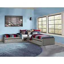 Hillsdale Furniture Pulse Gray Twin L Shaped Bed With Double Storage 2311pltb2st The Home Depot
