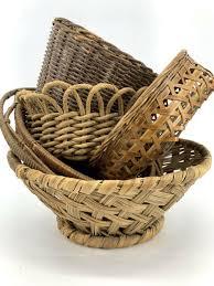wicker rattan boho woven baskets