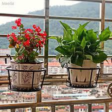 Iron Balcony Flower Rack Fence Rod Flower Stand Hanging Flower Pot Holder Shopee Philippines