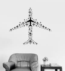 Vinyl Decal Airplane Flight Airport Aircraft Travel Wall Sticker Mural Unique Gift Ig3073 Airplane Wall Art Wall Stickers Murals Wall Stickers Travel