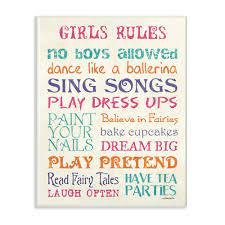 The Kids Room By Stupell 10 In X 15 In Pink Teal Orange And Purple Girls Rules By Debbie Dewitt Printed Wood Wall Art Brp 2212 Wd 10x15 The Home Depot