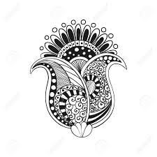 Illustratie Doodle Boho Bloem Oosterse Meditatie Indiase