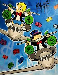 graffiti art decor riding airplane