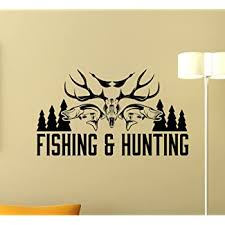 Amazon Com Fishing And Hunting Logo Wall Decal Hunter Hunting Shotgun Deer Wild Hunting Wall Sticker Hunting Dog Vinyl Sticker Living Room Decor Fishing Wall Art Housewares Bedroom Wall Mural 219xxx Kitchen