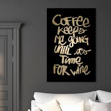 Shop Oliver Gal Coffee And Wine Black Typography And Quotes Wall Art Canvas Print Black Gold Overstock 28633641