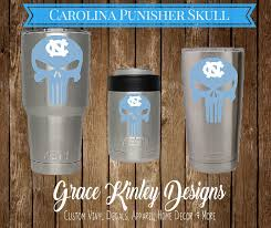 Yeti Cup Decal Unc Punisher Skull For Cups Coolers Tarheels Vinyl Decal College Yeti Unc Decal Carolin Cup Decal Decals For Yeti Cups Punisher Skull