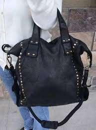 black pebbled gloved stud leather