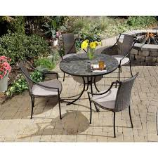 piece round patio dining set with taupe