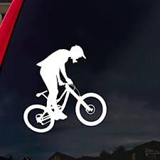 Amazon Com Socooldesign Mountain Bike Silhouette Car Window Vinyl Decal Sticker 6 Wide White Automotive