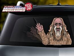 Bigfoot Sasquatch Waving Decal Wipertag For Rear Windshield Wiper Wipertags
