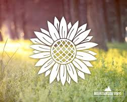 Sunflower Vinyl Decal Sunflower Sticker Sunflower Water Etsy