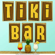 Tiki Bar Letters Tropical Wall Decal Set Etsy