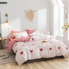 heart print polka dot bedding set