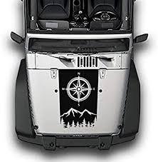 Amazon Com Bubbles Designs Compass Mountains Hood Decal Sticker Vinyl Compatible With Jeep Wrangler Jk Automotive