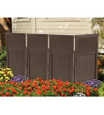 Outdoor Brown Resin Four Panel Privacy Screen Screen Enclosures Privacy Screen Outdoor Outdoor Screens