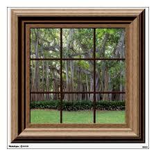 Realistic Lawn Trees Fake Window Scene Mural Wall Sticker Zazzle Com