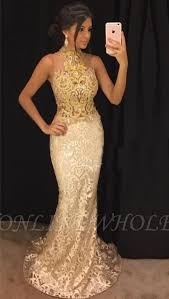 high neck sleeveless chagne and gold
