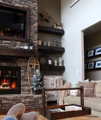 shelves on side of stone fireplace