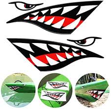 Amazon Com Tenspal Shark Teeth Mouth Decals Sticker Kayak Boat Fishing Canoe Graphics Car Truck Reflective Graphics Accessories 2 Pcs Sports Outdoors