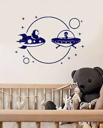Vinyl Wall Decal Cartoon Astronaut Alien Spaceship Space Stickers 3847ig Ebay