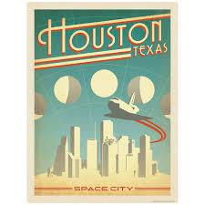 Houston Texas Space City Vinyl Sticker At Retro Planet