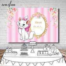 Sensfun جميلة كسول القط خلفية للفتيات الوردي موضوع الزهور الذهب