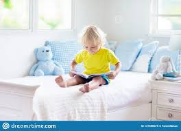 Child Playing In Bed Kids Room Baby Boy At Home Stock Image Image Of Curly Knitted 137590675