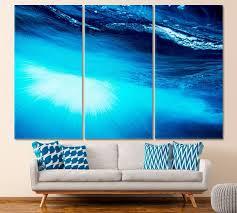 blue water wall art ocean canvas print