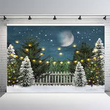 Christmas Backdrop Family Christmas Tree Decoration Moon Fence Stars Photo Studio Background Snow Scene Christmas Decoration Background Aliexpress