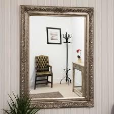 ornate silver big wall mirror