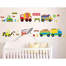 50x70cm Digger Wall Decals Construction Trucks Tractor Room Decor Art Stickers Colorful For Kids Rooms Wish