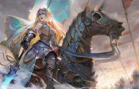 horse armor spear anime art
