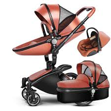 3 in 1 leather baby stroller set high