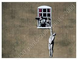 Naked Man Hanging From Window By Banksy Poster Or Wall Sticker Decal Wall Ebay