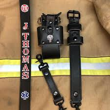black leather firefighter ems radio