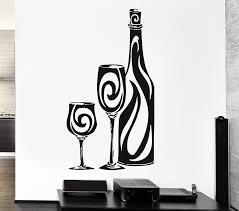 Wall Stickers Vinyl Decal Bottle Of Wine Glass Restaurant Drink Alcohol Decals Children Decaldecal Vinyl Aliexpress
