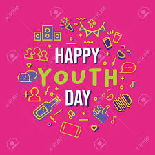 happy youth day typography quote card icon set illustration