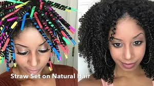 straw set on natural hair you