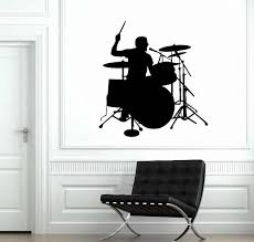 Drummer Silhouette Wall Sticker Drum Player Wall Decal Music Room Decor Removable Vinyl Wall Art Mural Drum Wall Poster Ay1265 Wall Stickers Aliexpress