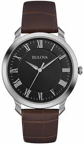 men s bulova classic brown leather