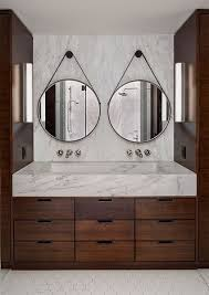 double round mirrorarble vanity