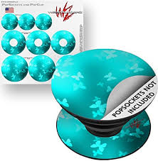 Amazon Com Decal Style Vinyl Skin Wrap 3 Pack For Popsockets Bokeh Butterflies Neon Teal Popsocket Not Included By Wraptorskinz Everything Else