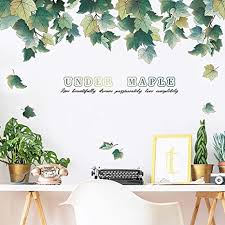 Amazon Com Diy Green Plants Maple Leaves Wall Decal Laszola Removable Plant Leaf Wall Sticker Under Maple Home Nursery Decor Murals Paper Decoration For Bedroom Living Room Office Bathroom Arts Crafts Sewing