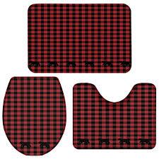 familydecor 3 piece bath rug set black