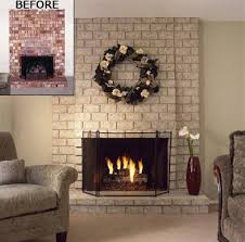 painted red brick fireplaces with brick